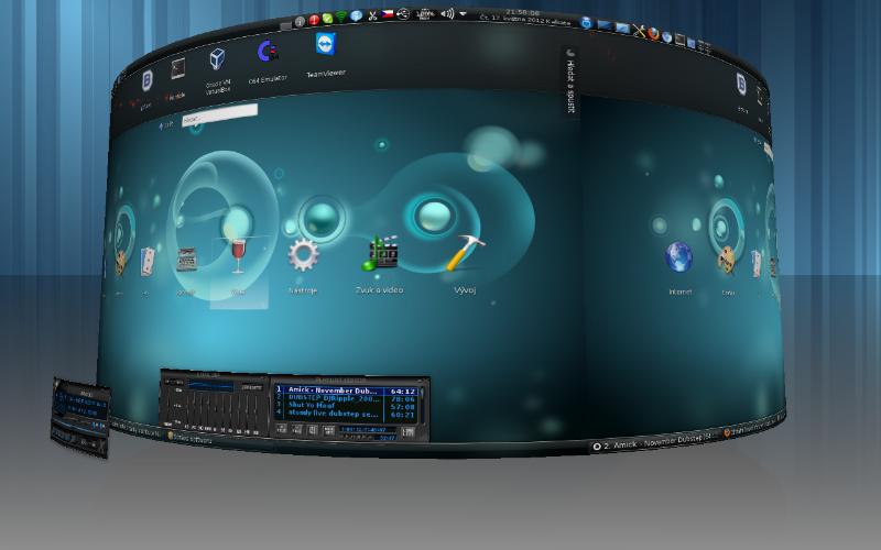 Yullaw: Mageia 1, KDE 4.6.5, Aktivity: Hledat a spustit - animace změny nabídky ikon aplikací, Compiz Fusion