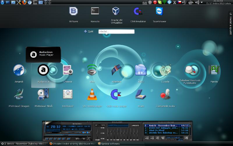 Yullaw: Mageia 1, KDE 4.6.5, Aktivity: Hledat a spustit - animace změny nabídky ikon aplik